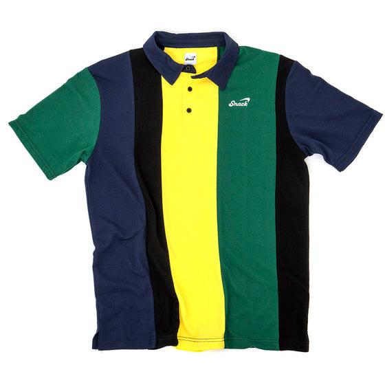 Alive Vertical Stripe Polo Shirt (Green/Gold)