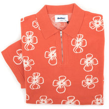 Flower Zip Polo Shirt (Rust)