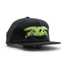 Embroidered Basic Eagle Adj. Snapback Hat (Black / Green)