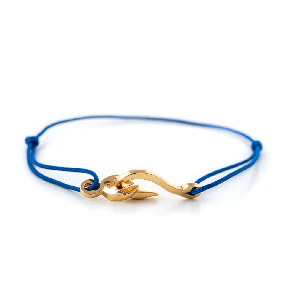 Bracelet cordon bleu et fermoir or