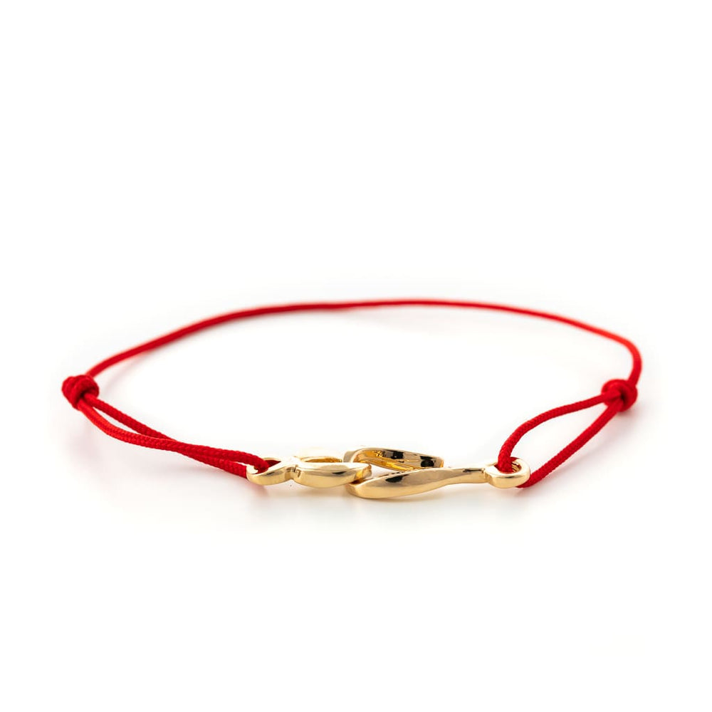 Bracelet cordon rouge et fermoir or