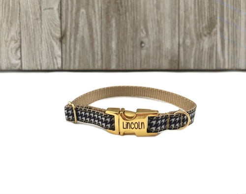 Gold Houndstooth Puppy Collar