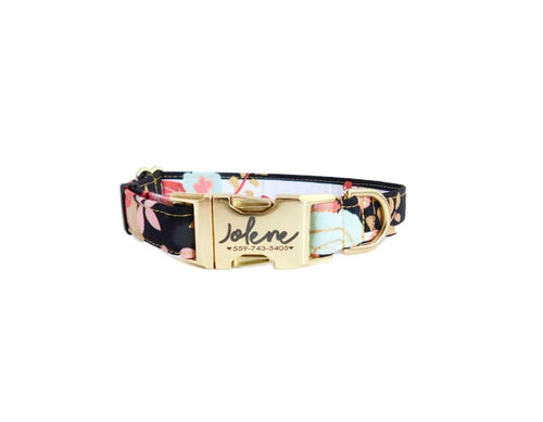 gold floral dog collar