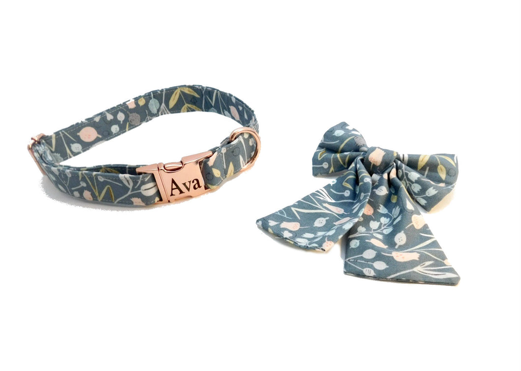 Meadow Floral Dog Collar With Fancy Bow -Fabric Style