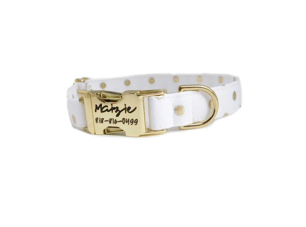 Gold Polka Dot Fabric Personalized Dog Collar - Fabric Style