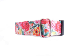 "Watercolor Floral Print Personalized Dog Collar 1"" and 1.5"""