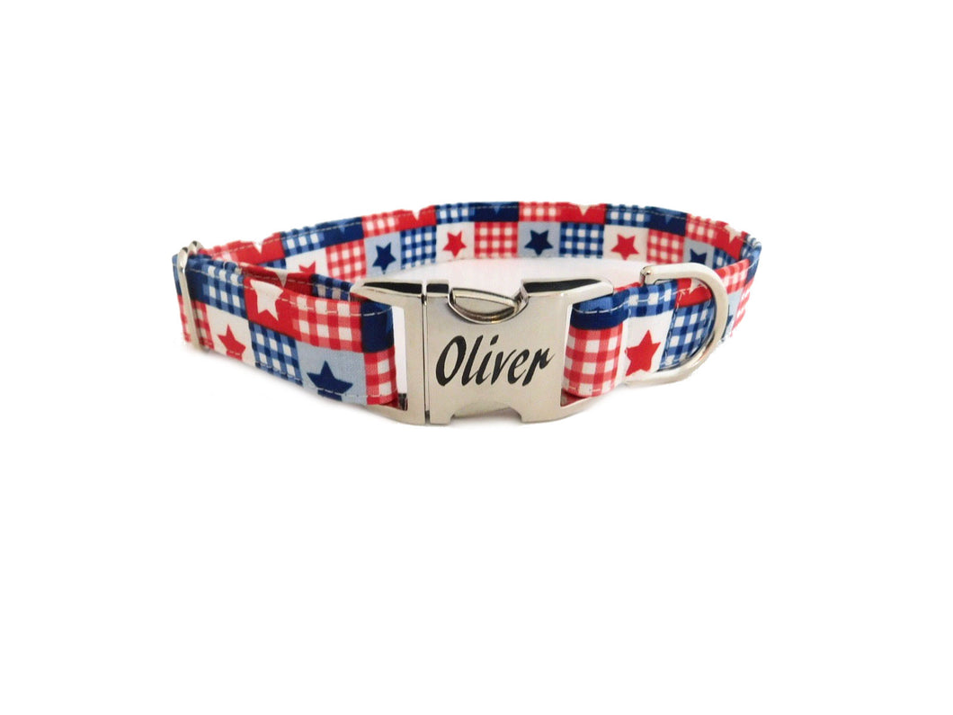 Patriotic Patchwork Dog Collar