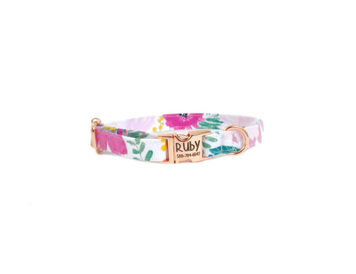 Plum Floral Dog Collar - Fabric Style