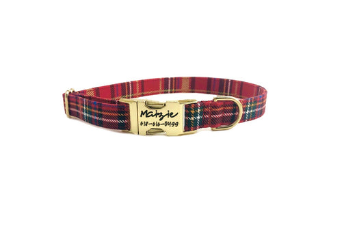 Red Christmas Plaid Dog Collar- Fabric Style