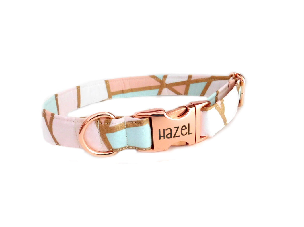 Geo Gold Mint Print Dog Collar - Fabric Style