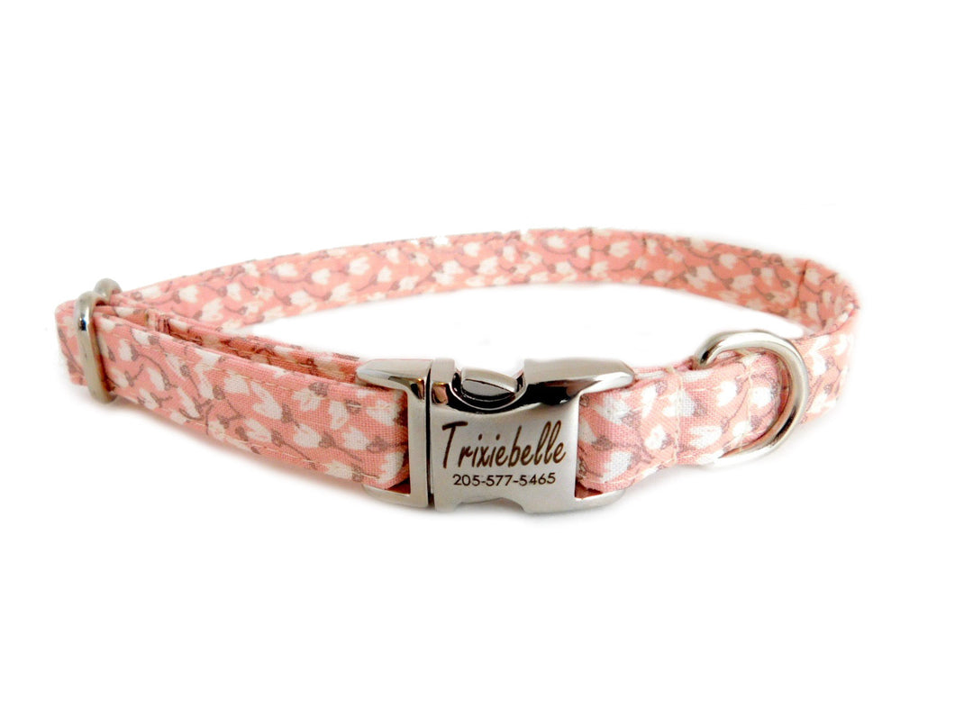 Rosie Petals Dog Collar - Personalized Laser Engraved Buckle Option- Fabric Style