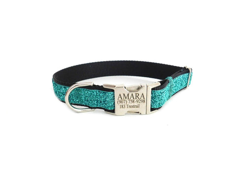 Teal Black Sparkle Dog Collar  -Laser Engraved Buckle Option-