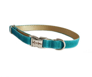 Velvet Personalized Dog Collar in Teal