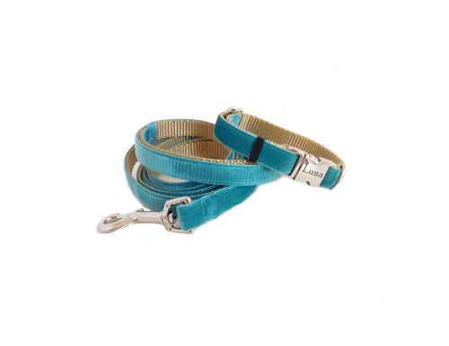 Velvet Dog Collar and Leash Set -Wide Version- Teal