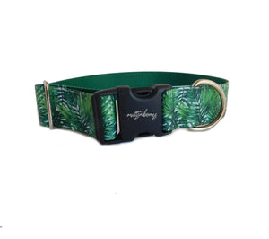 "Wide Palm Tree Print Personalized Dog Collar -1.5"" or 2"" Width"