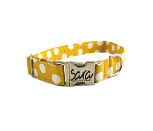 Yellow Polka Dot Dog Collar - Fabric Style