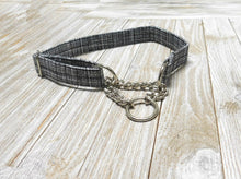 Martingale Dog Collar- Black White Weave Print- Fabric style