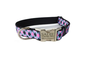 preppy personalized dog collar
