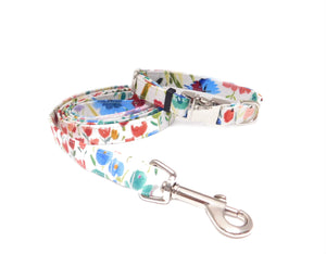 Floral Watercolor  Dog Collar and Leash Set - Fabric Style