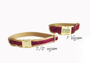 Fuchsia Sparkle Dog Collar - Personalized Laser Engraved Buckle Option-
