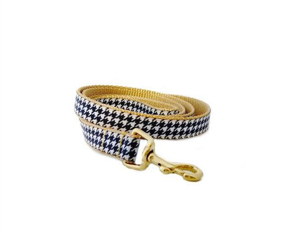 Gold Houndstooth Dog Leash