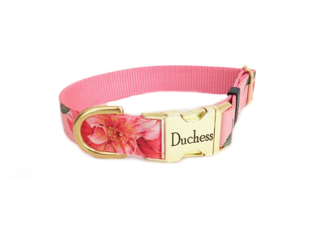 Pink Hawaiian Flower Dog Collar - Personalized Laser Engraved Buckle Option-