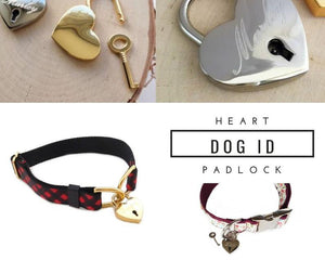Dog Collar ID Heart Padlock, Dog ID Tag