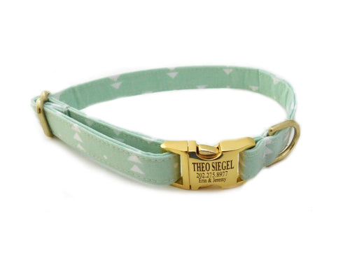 Mint Arrow Print Personalized Dog Collar