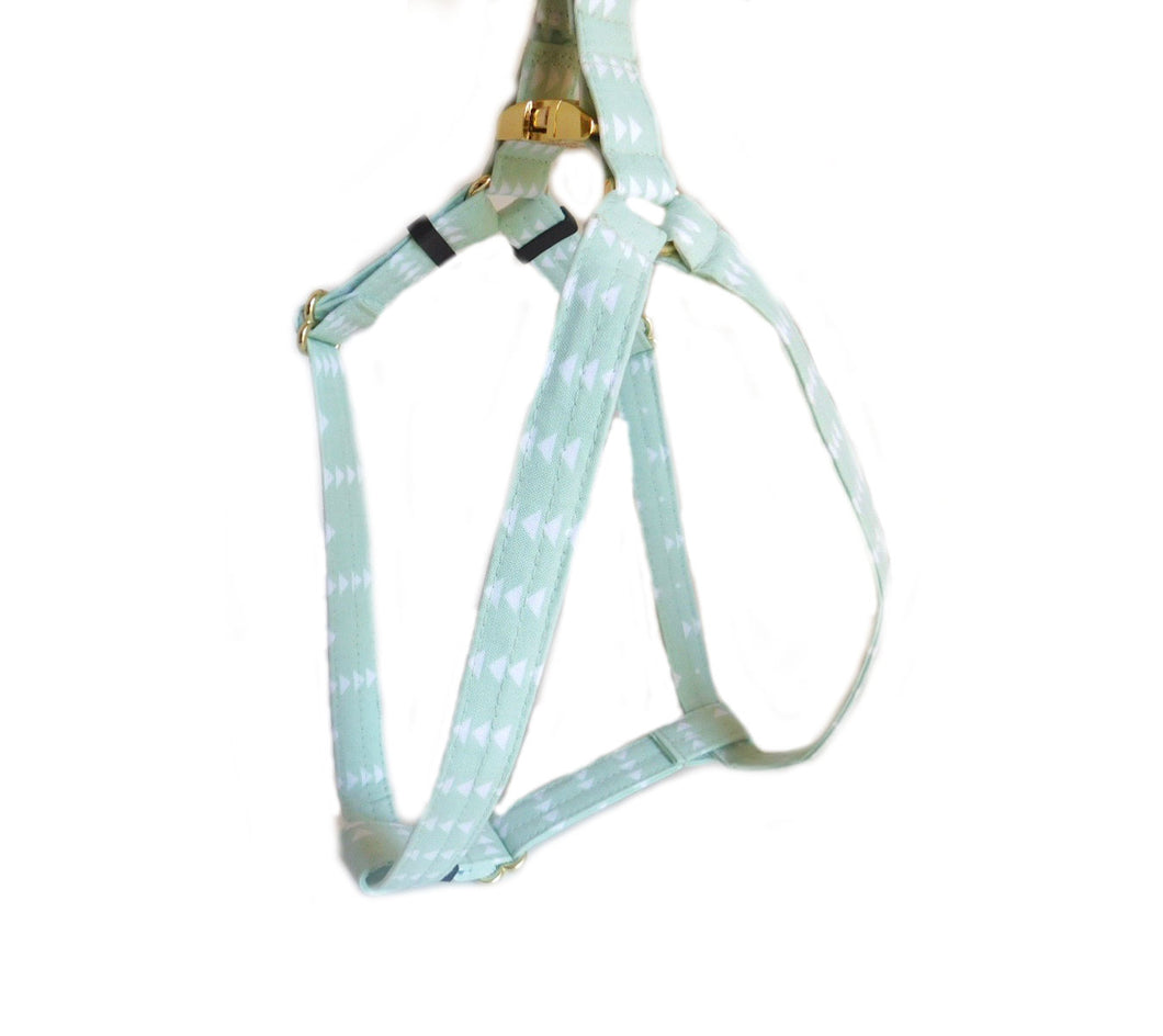 Mint Triangles Step in Fabric Harness