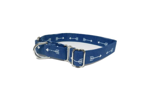 Martingale Dog Collar- Navy Arrow Print- Fabric style