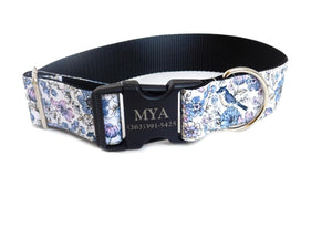 "Wide Purple Floral Print Personalized Collar -1.5"" or 2"" Width"