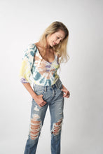 Load image into Gallery viewer, tie dye smocked double v top by Chaser Brand