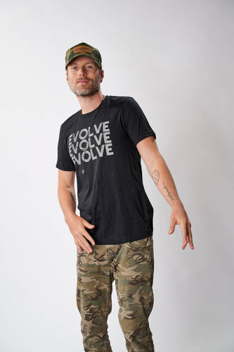 evolve men's black graphic tee