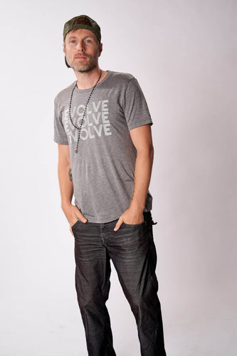 evolve men's grey graphic tee