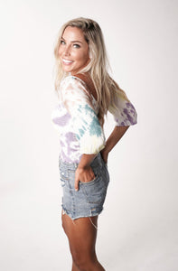 tie dye smocked double v top by Chaser Brand