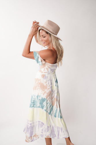 tie dye heirloom woven off the shoulder dress by Chaser Brand