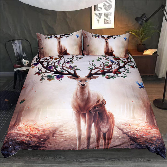 Floral Deer Duvet Cover With Pillowcase