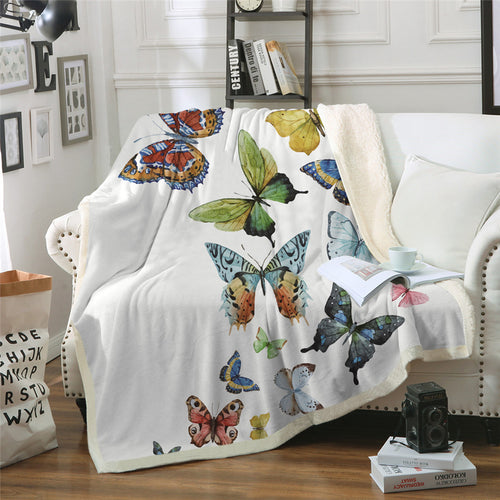 Flying Butterflies Sherpa Blanket