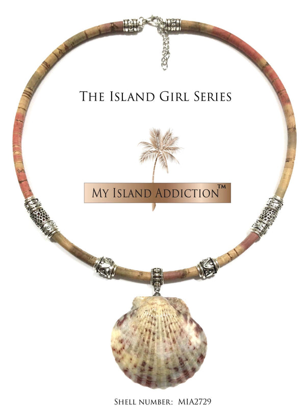 Bambo Cork Cord Shell choker necklace.