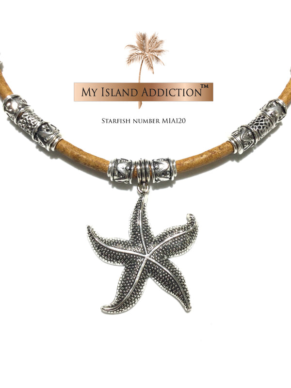 My Island Addiction LLC Leather Choker Starfish Necklace MIA120