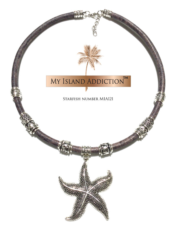 Leather Choker Starfish Necklace MIA121