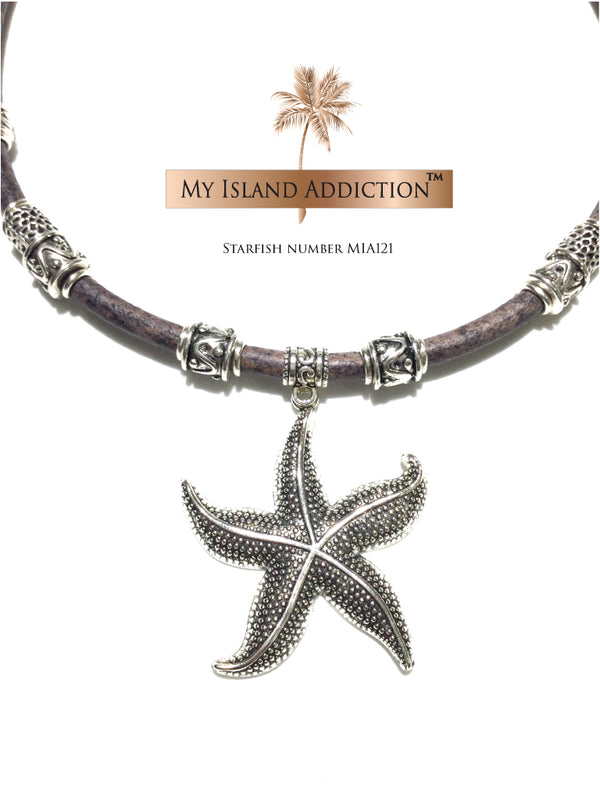 My Island Addiction leather choker necklace with beautiful Starfish pendant.
