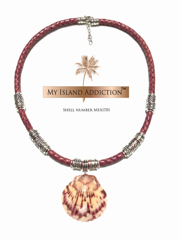My Island Addiction LLC Leather Shell Choker Necklace MIA1701UMH Ultimate Moonie Halo