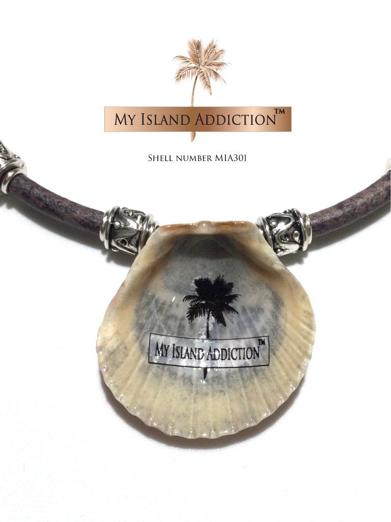 Leather Shell Choker Necklace MIA301