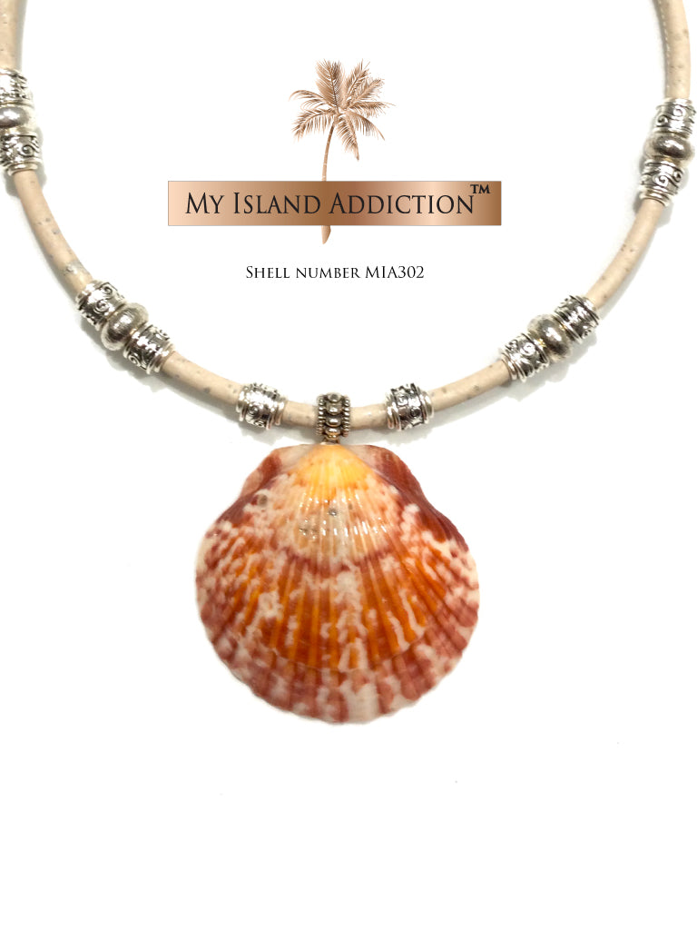 Orange Glow Shell Choker necklace MIA302