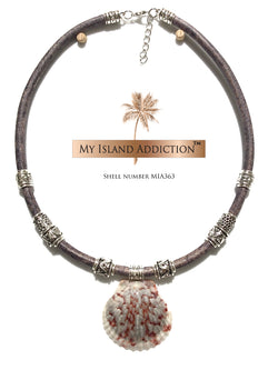 Freedom Series Leather Sanibel Shell Necklace MIA363