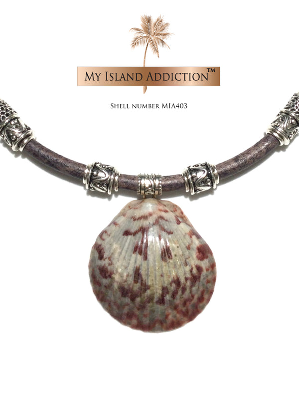 My Island Addiction LLC Inner Peace Shell Leather Choker Necklace  Edit alt text