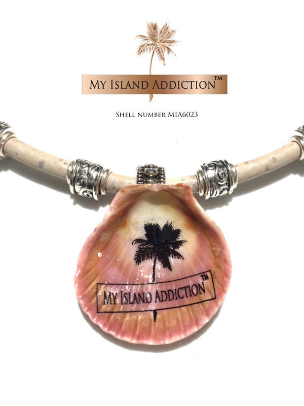 My Island addiction Leather Sanibel Shell Choker Necklace MIA6023UMH Ultimate Moonie Halo Shell  Edit alt text