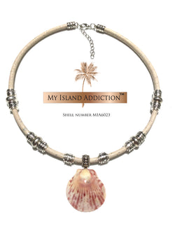 My Island addiction Leather Sanibel Shell Choker Necklace MIA6023UMH Ultimate Moonie Halo Shell