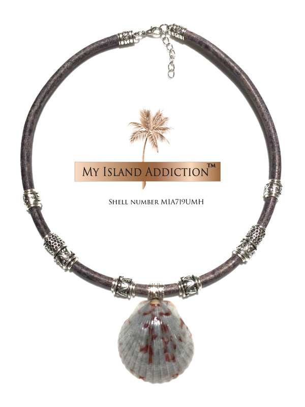 Inner Peace Leather Shell Choker Necklace MIA719UMH